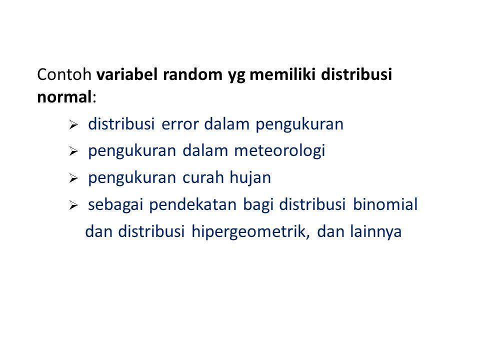 Contoh variabel random yg memiliki distribusi normal:  distribusi error dalam pengukuran  pengukuran dalam meteorologi  pengukuran curah hujan  sebagai pendekatan bagi distribusi binomial dan distribusi hipergeometrik, dan lainnya