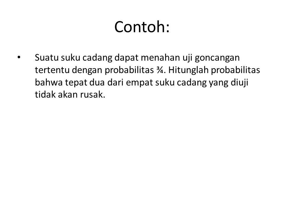 Contoh: • Suatu suku cadang dapat menahan uji goncangan tertentu dengan probabilitas ¾.