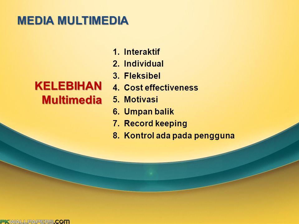 MEDIA MULTIMEDIA 1.Interaktif 2.Individual 3.Fleksibel 4.Cost effectiveness 5.Motivasi 6.Umpan balik 7.Record keeping 8.Kontrol ada pada pengguna KELE