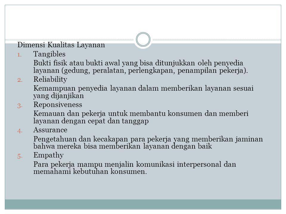 Dimensi Kualitas Layanan 1. Tangibles Bukti fisik atau bukti awal yang bisa ditunjukkan oleh penyedia layanan (gedung, peralatan, perlengkapan, penamp