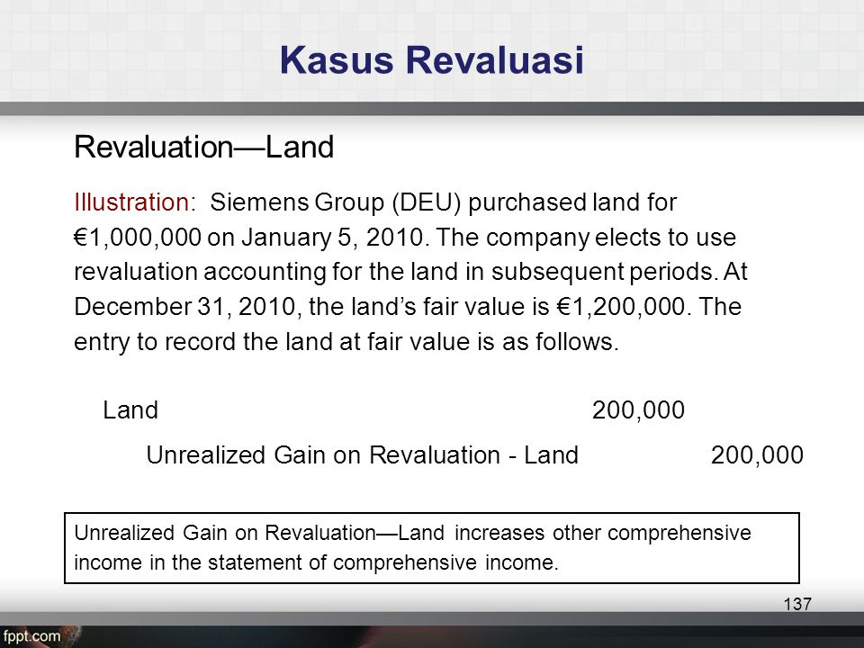 Revaluation—Land Illustration: Siemens Group (DEU) purchased land for €1,000,000 on January 5, 2010.