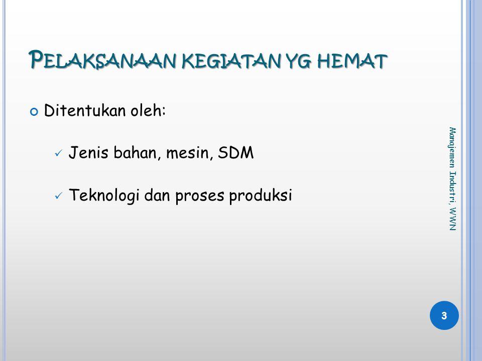 P ELAKSANAAN KEGIATAN YG HEMAT Ditentukan oleh:  Jenis bahan, mesin, SDM  Teknologi dan proses produksi 3 Manajemen Industri, WWN