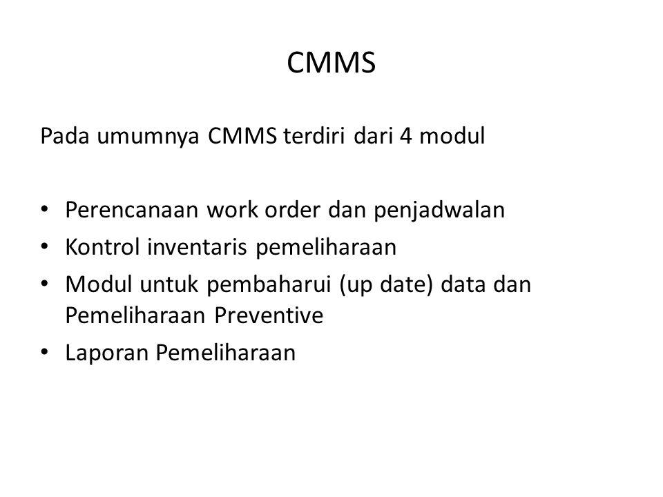 CMMS Pada umumnya CMMS terdiri dari 4 modul • Perencanaan work order dan penjadwalan • Kontrol inventaris pemeliharaan • Modul untuk pembaharui (up da