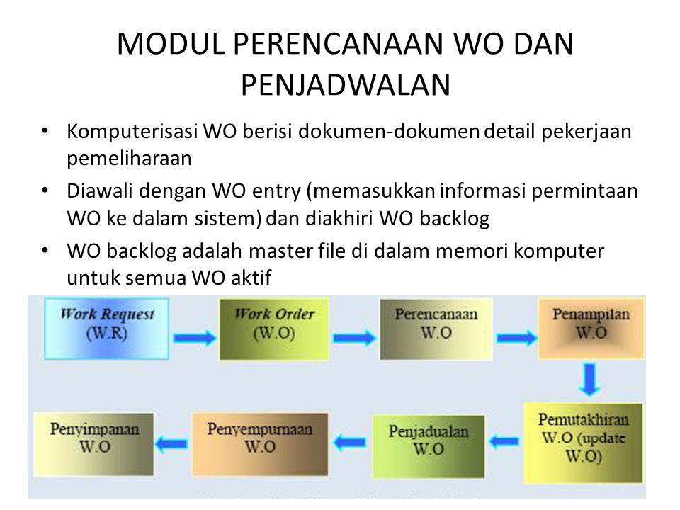 MODUL PERENCANAAN WO DAN PENJADWALAN • Komputerisasi WO berisi dokumen-dokumen detail pekerjaan pemeliharaan • Diawali dengan WO entry (memasukkan inf