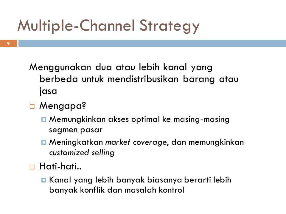 9 Multiple-Channel Strategy Menggunakan dua atau lebih kanal yang berbeda untuk mendistribusikan barang atau jasa  Mengapa?  Memungkinkan akses opti