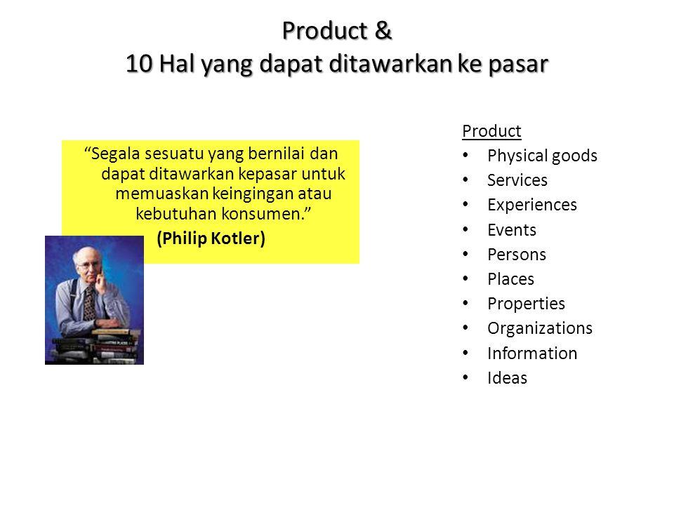 """Product & 10 Hal yang dapat ditawarkan ke pasar """"Segala sesuatu yang bernilai dan dapat ditawarkan kepasar untuk memuaskan keingingan atau kebutuhan k"""