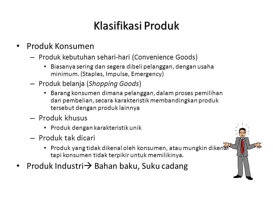Klasifikasi Produk • Produk Konsumen – Produk kebutuhan sehari-hari (Convenience Goods) • Biasanya sering dan segera dibeli pelanggan, dengan usaha mi