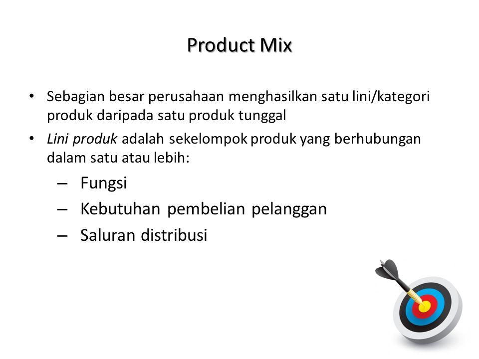 • Sebagian besar perusahaan menghasilkan satu lini/kategori produk daripada satu produk tunggal • Lini produk adalah sekelompok produk yang berhubunga