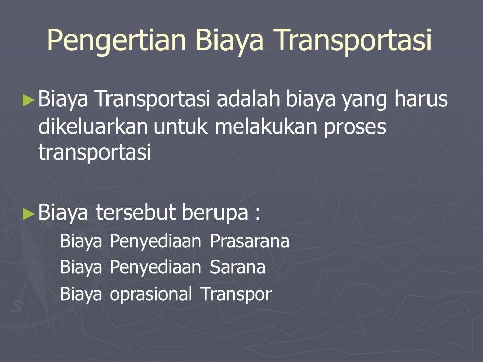 Pengertian Biaya Transportasi ► Biaya Transportasi adalah biaya yang harus dikeluarkan untuk melakukan proses transportasi ► Biayatersebut berupa : Biaya Penyediaan Prasarana Biaya Penyediaan Sarana Biaya oprasional Transpor