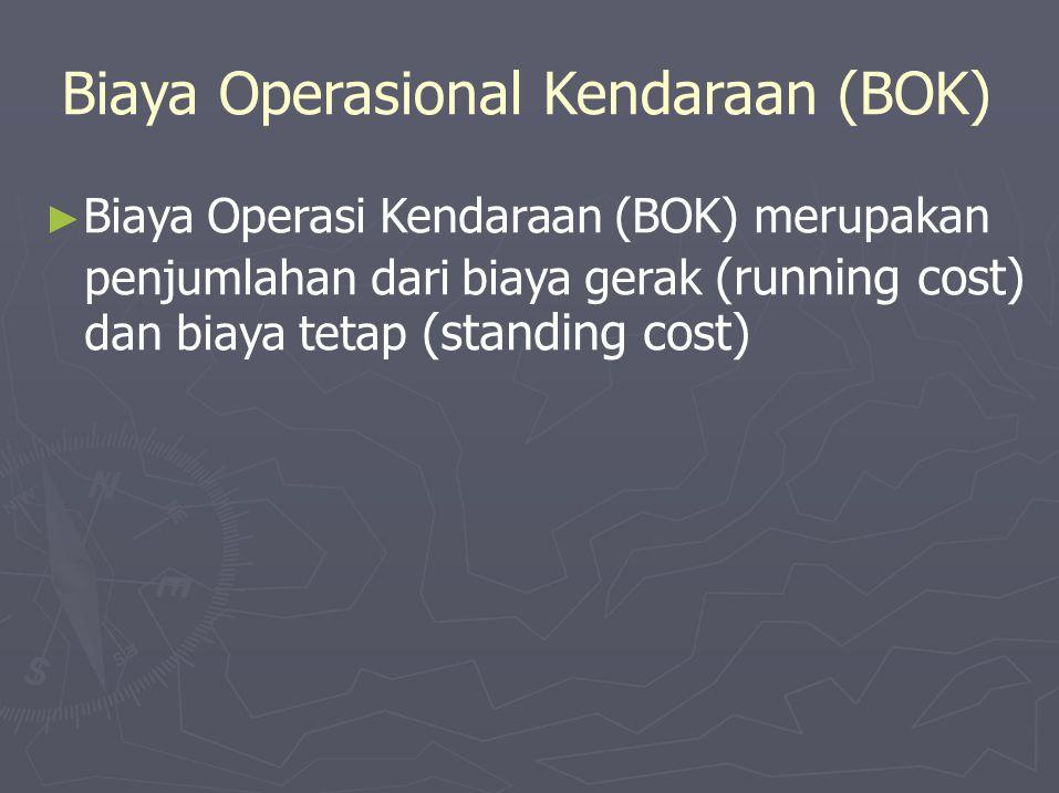 Biaya Operasional Kendaraan (BOK) ► Biaya Operasi Kendaraan (BOK) merupakan penjumlahan dari biaya gerak (running cost) dan biaya tetap (standing cost)
