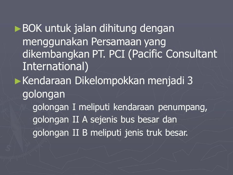 ► BOK untuk jalan dihitung dengan menggunakan Persamaan yang dikembangkan PT. PCI (Pacific Consultant International) ► Kendaraan golongan Dikelompokka
