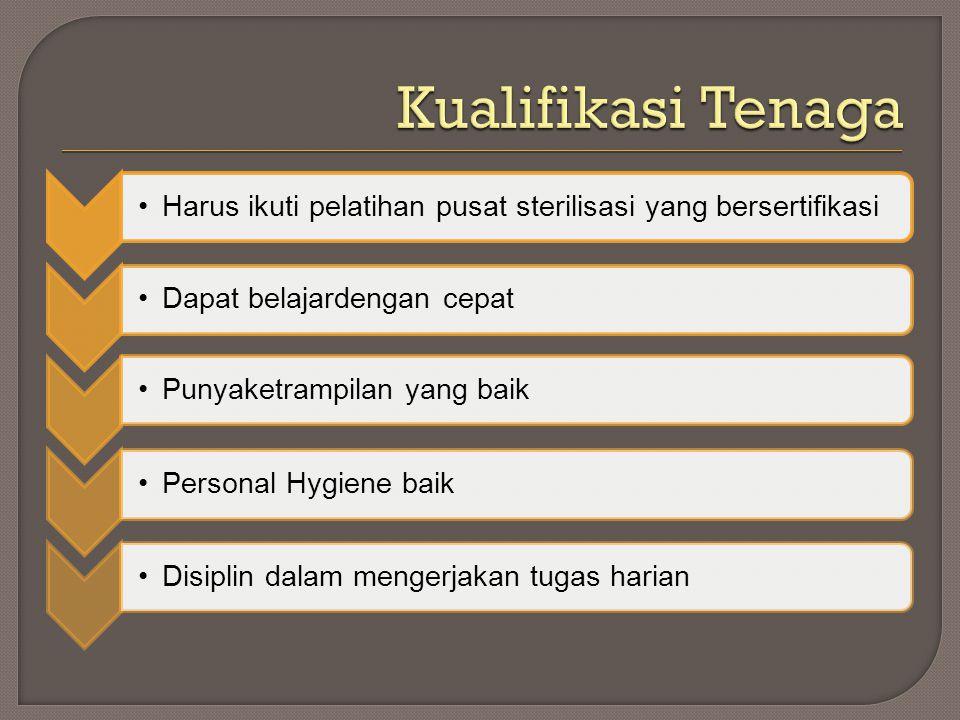 •Harus ikuti pelatihan pusat sterilisasi yang bersertifikasi•Dapat belajardengan cepat•Punyaketrampilan yang baik•Personal Hygiene baik•Disiplin dalam