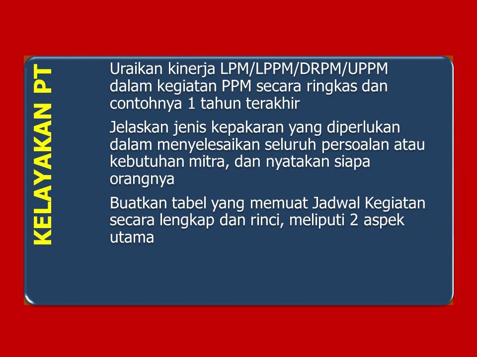 KELAYAKAN PT Uraikan kinerja LPM/LPPM/DRPM/UPPM dalam kegiatan PPM secara ringkas dan contohnya 1 tahun terakhir Jelaskan jenis kepakaran yang diperlu