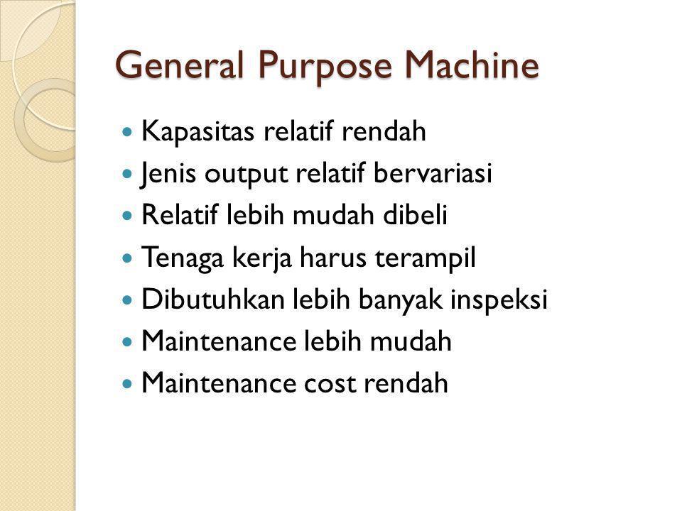 General Purpose Machine  Kapasitas relatif rendah  Jenis output relatif bervariasi  Relatif lebih mudah dibeli  Tenaga kerja harus terampil  Dibu