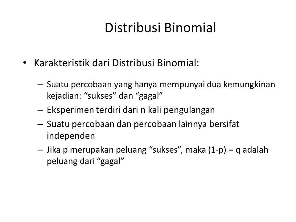 """• Karakteristik dari Distribusi Binomial: – Suatu percobaan yang hanya mempunyai dua kemungkinan kejadian: """"sukses"""" dan """"gagal"""" – Eksperimen terdiri d"""