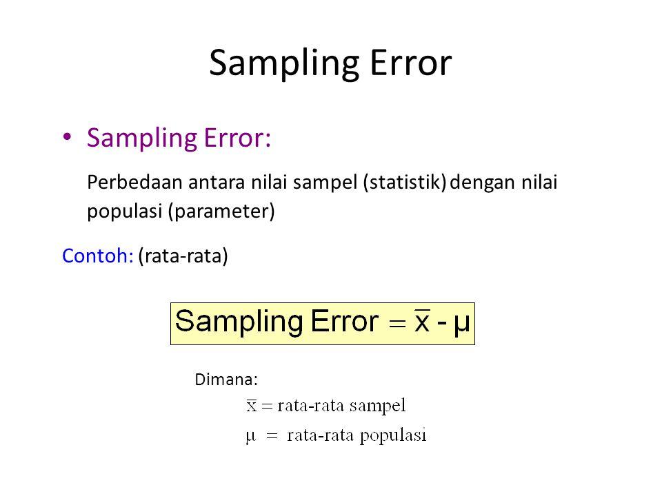 Sampling Error • Sampling Error: Perbedaan antara nilai sampel (statistik) dengan nilai populasi (parameter) Contoh: (rata-rata) Dimana:
