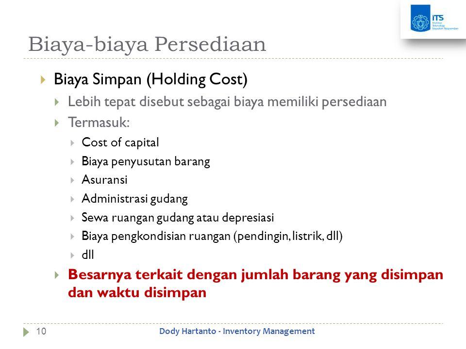 Biaya-biaya Persediaan  Biaya Simpan (Holding Cost)  Lebih tepat disebut sebagai biaya memiliki persediaan  Termasuk:  Cost of capital  Biaya pen
