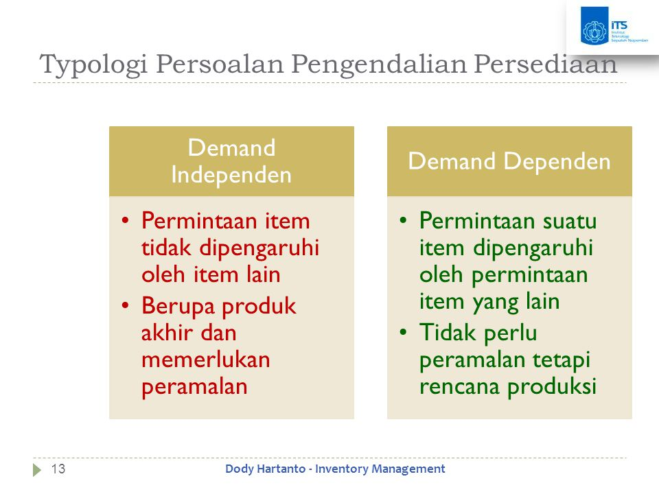 Typologi Persoalan Pengendalian Persediaan Demand Independen •Permintaan item tidak dipengaruhi oleh item lain •Berupa produk akhir dan memerlukan per