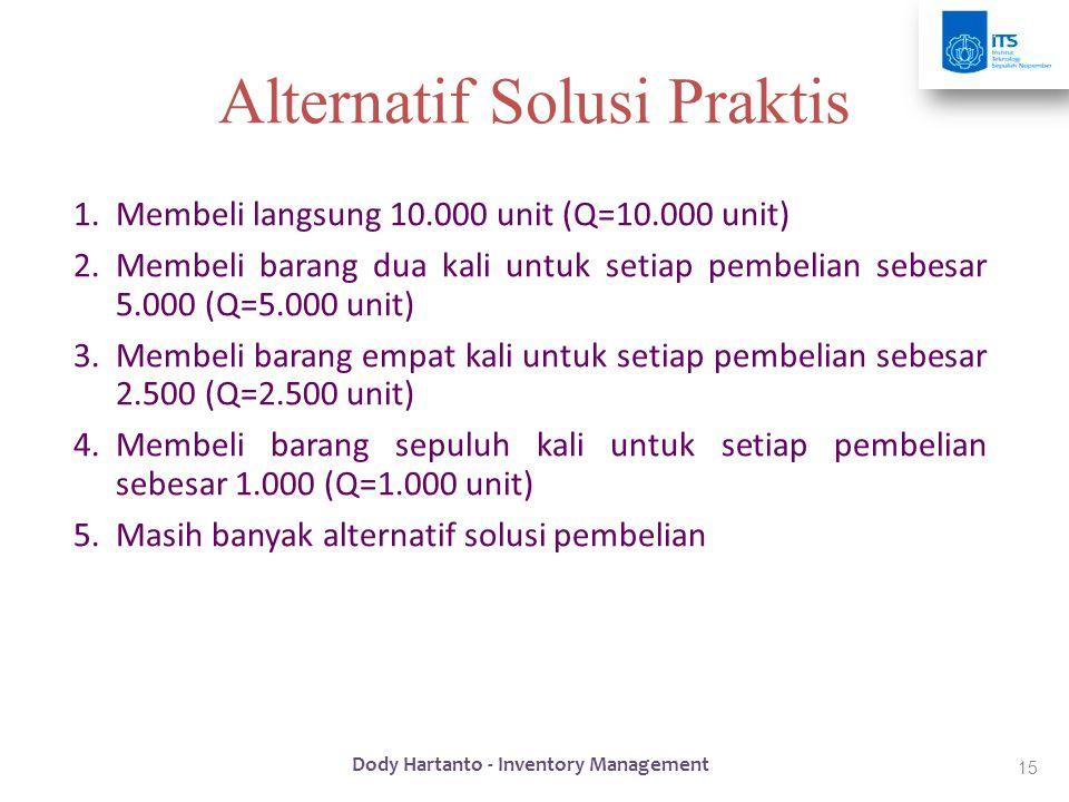 15 Alternatif Solusi Praktis 1.Membeli langsung 10.000 unit (Q=10.000 unit) 2.Membeli barang dua kali untuk setiap pembelian sebesar 5.000 (Q=5.000 un