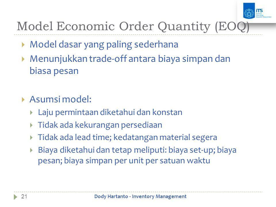 Model Economic Order Quantity (EOQ)  Model dasar yang paling sederhana  Menunjukkan trade-off antara biaya simpan dan biasa pesan  Asumsi model: 