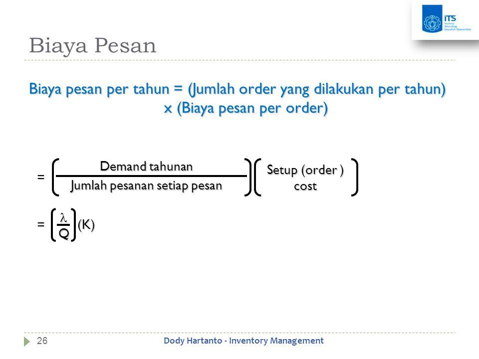 Biaya Pesan Biaya pesan per tahun = (Jumlah order yang dilakukan per tahun) x (Biaya pesan per order) Demand tahunan Jumlah pesanan setiap pesan Setup
