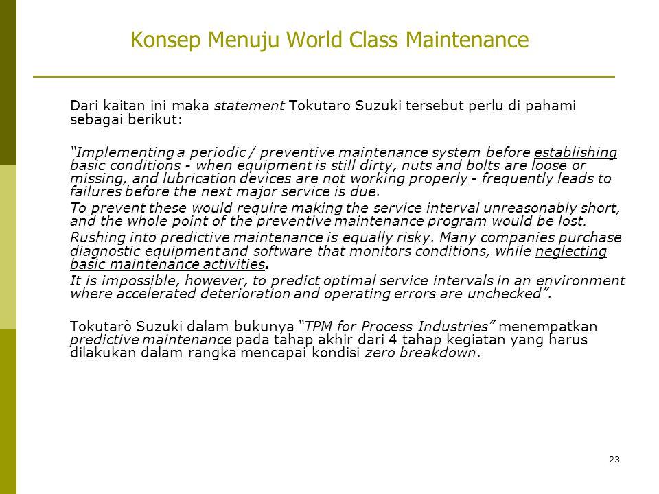 """23 Dari kaitan ini maka statement Tokutaro Suzuki tersebut perlu di pahami sebagai berikut: """"Implementing a periodic / preventive maintenance system b"""