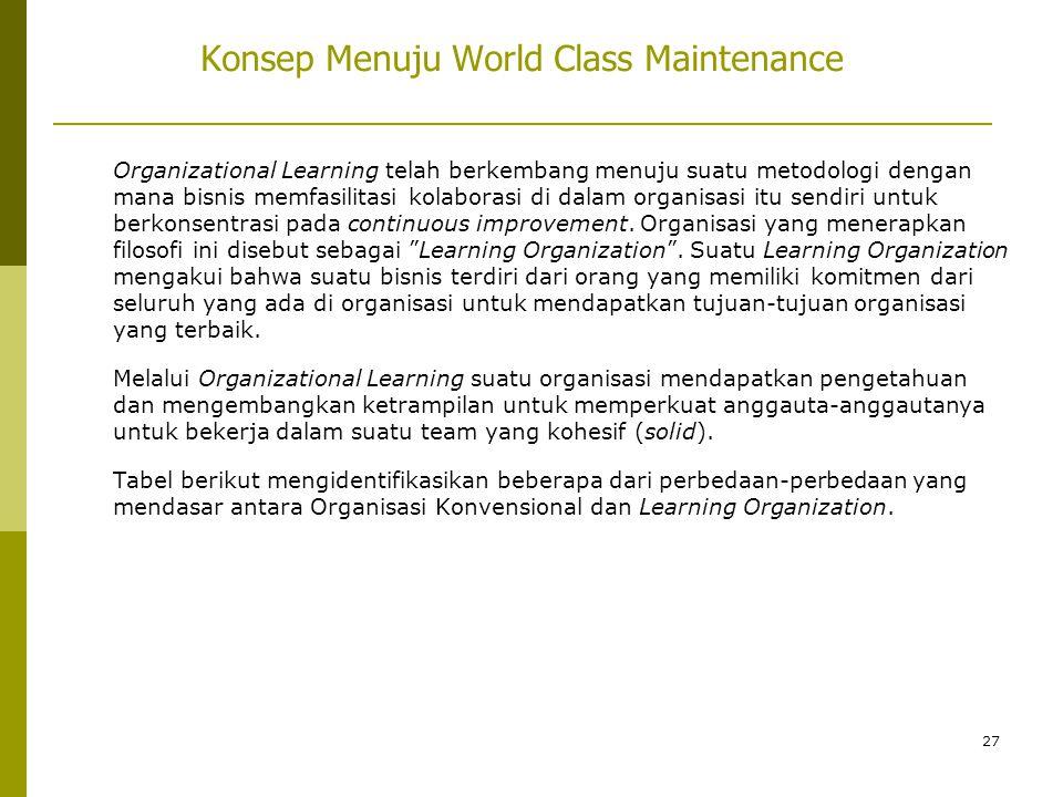 27 Konsep Menuju World Class Maintenance Organizational Learning telah berkembang menuju suatu metodologi dengan mana bisnis memfasilitasi kolaborasi