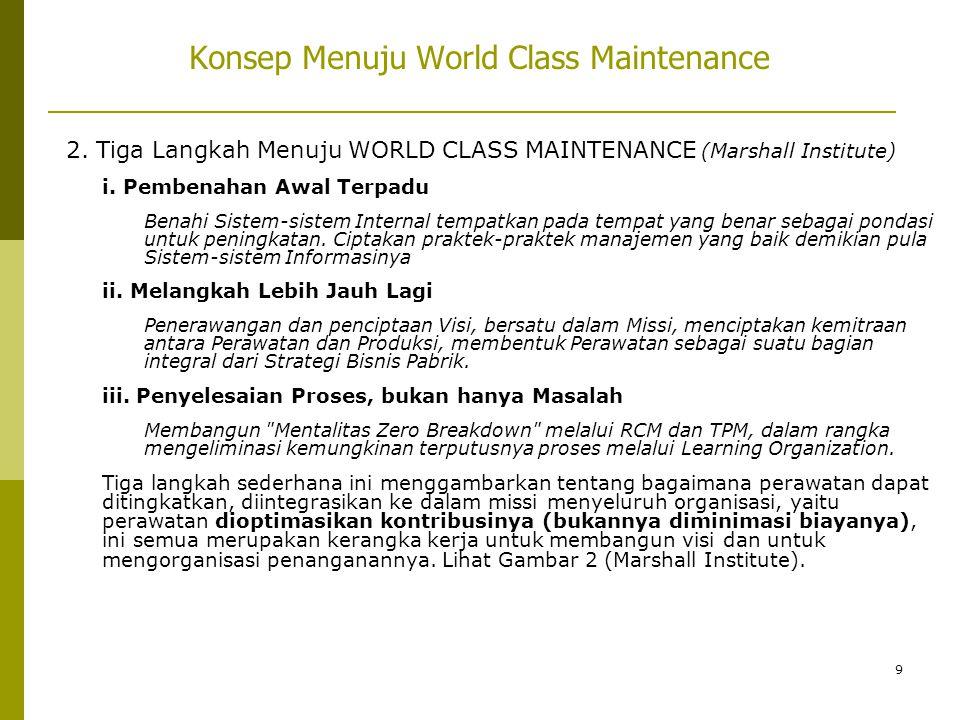 9 Konsep Menuju World Class Maintenance 2. Tiga Langkah Menuju WORLD CLASS MAINTENANCE (Marshall Institute) i. Pembenahan Awal Terpadu Benahi Sistem-s