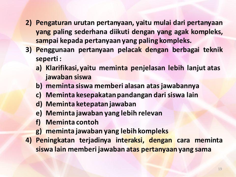 19 2)Pengaturan urutan pertanyaan, yaitu mulai dari pertanyaan yang paling sederhana diikuti dengan yang agak kompleks, sampai kepada pertanyaan yang