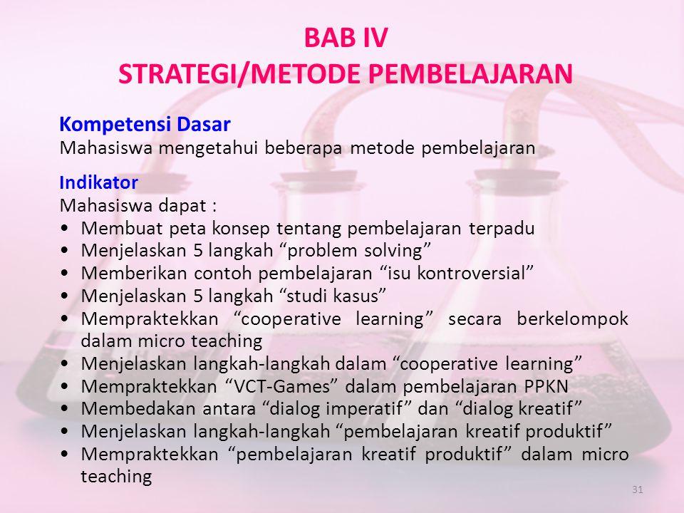 31 BAB IV STRATEGI/METODE PEMBELAJARAN Kompetensi Dasar Mahasiswa mengetahui beberapa metode pembelajaran Indikator Mahasiswa dapat : •Membuat peta ko