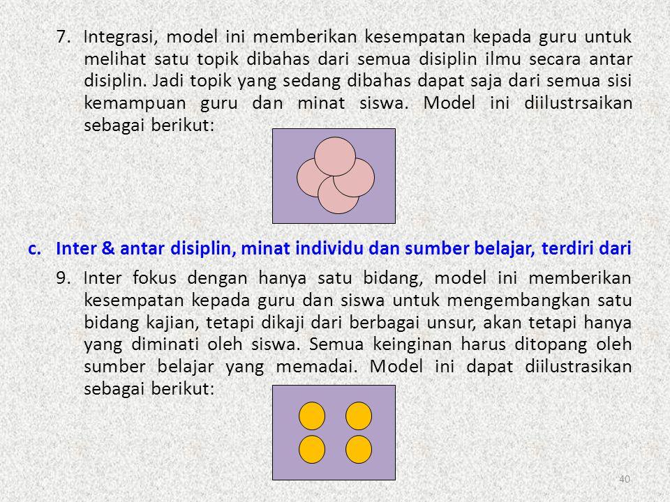 40 7.Integrasi, model ini memberikan kesempatan kepada guru untuk melihat satu topik dibahas dari semua disiplin ilmu secara antar disiplin. Jadi topi