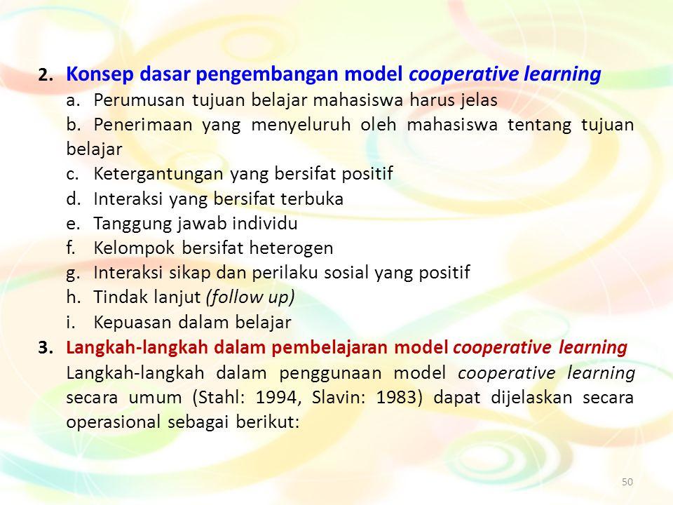 50 2. Konsep dasar pengembangan model cooperative learning a.Perumusan tujuan belajar mahasiswa harus jelas b.Penerimaan yang menyeluruh oleh mahasisw