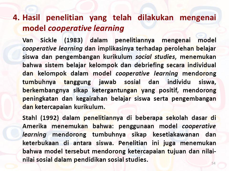 54 4.Hasil penelitian yang telah dilakukan mengenai model cooperative learning Van Sickle (1983) dalam penelitiannya mengenai model cooperative learni