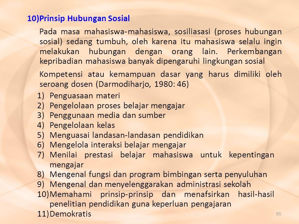 65 10)Prinsip Hubungan Sosial Pada masa mahasiswa-mahasiswa, sosiliasasi (proses hubungan sosial) sedang tumbuh, oleh karena itu mahasiswa selalu ingi