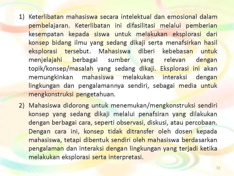 72 1)Keterlibatan mahasiswa secara intelektual dan emosional dalam pembelajaran. Keterlibatan ini difasilitasi melalui pemberian kesempatan kepada sis