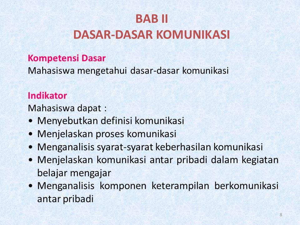 8 BAB II DASAR-DASAR KOMUNIKASI Kompetensi Dasar Mahasiswa mengetahui dasar-dasar komunikasi Indikator Mahasiswa dapat : •Menyebutkan definisi komunik