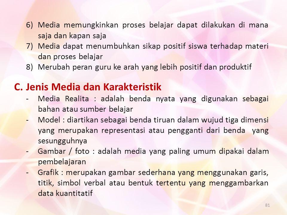 81 6)Media memungkinkan proses belajar dapat dilakukan di mana saja dan kapan saja 7)Media dapat menumbuhkan sikap positif siswa terhadap materi dan p