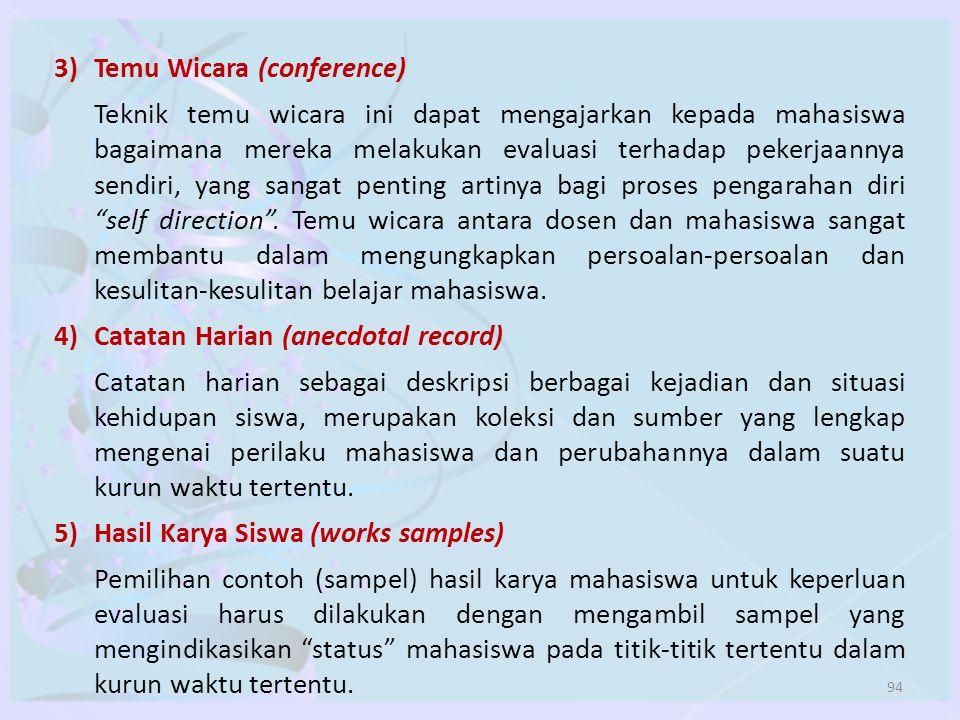 94 3)Temu Wicara (conference) Teknik temu wicara ini dapat mengajarkan kepada mahasiswa bagaimana mereka melakukan evaluasi terhadap pekerjaannya send