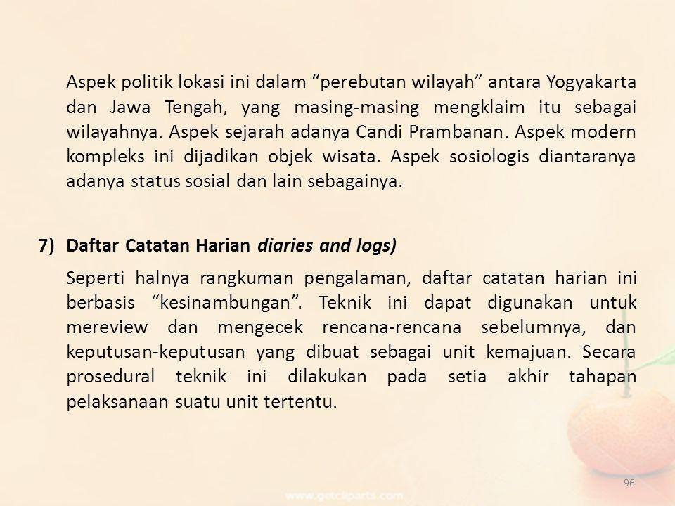 "96 Aspek politik lokasi ini dalam ""perebutan wilayah"" antara Yogyakarta dan Jawa Tengah, yang masing-masing mengklaim itu sebagai wilayahnya. Aspek se"