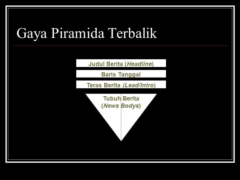 Gaya Piramida Terbalik Judul Berita (Headline) Baris Tanggal Teras Berita (Lead/Intro) Tubuh Berita (News Bodys)