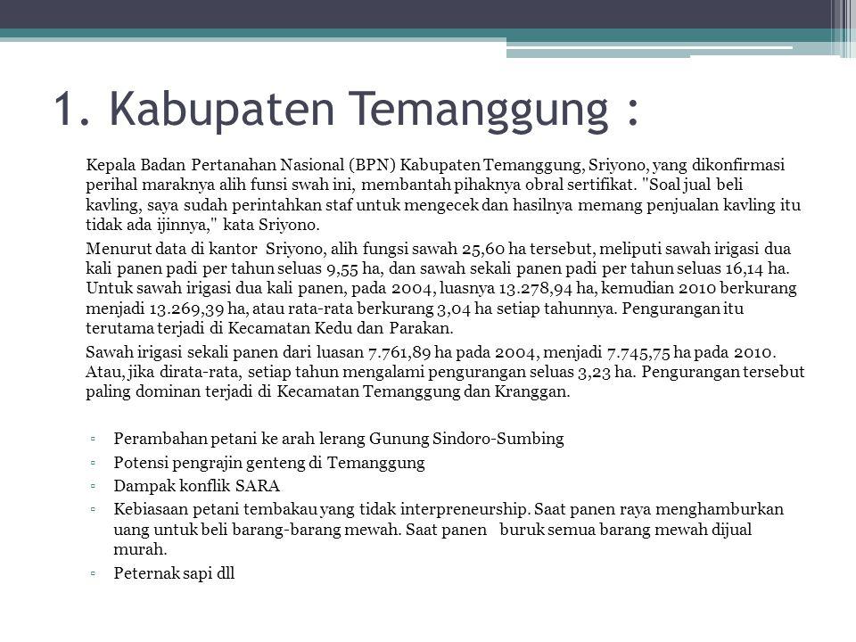 1. Kabupaten Temanggung : Kepala Badan Pertanahan Nasional (BPN) Kabupaten Temanggung, Sriyono, yang dikonfirmasi perihal maraknya alih funsi swah ini