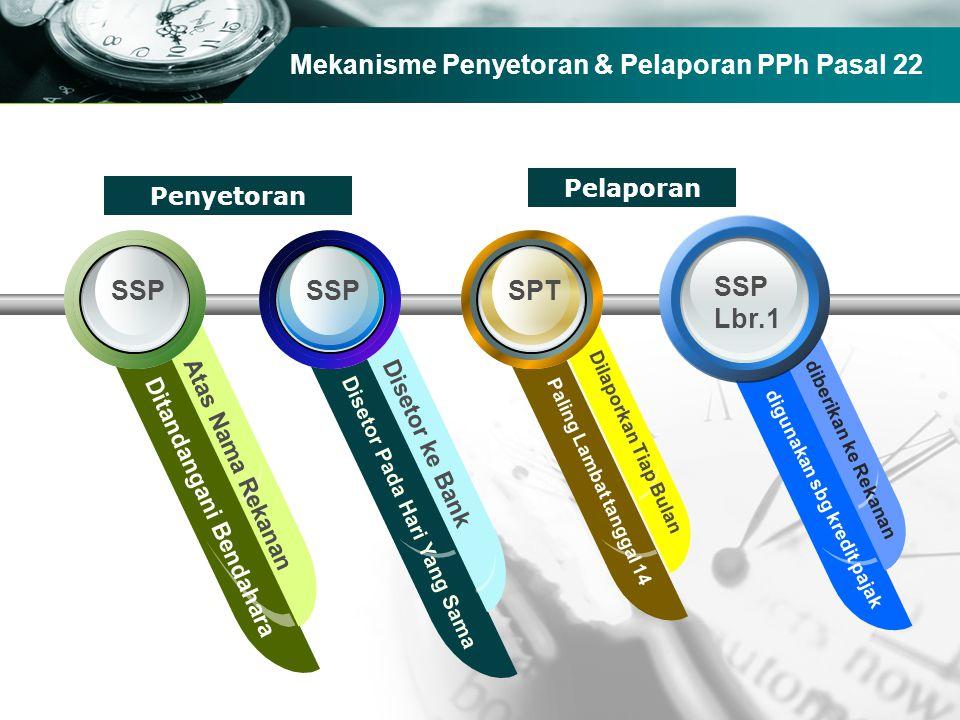 Company name Mekanisme Penyetoran & Pelaporan PPh Pasal 22 SPTSSP Ditandangani Bendahara Atas Nama Rekanan Disetor Pada Hari Yang Sama Paling Lambat t