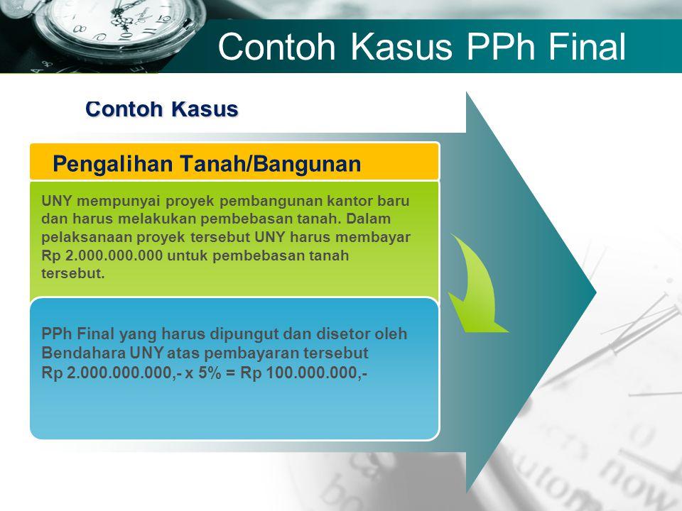 Company name Contoh Kasus PPh Final Contoh Kasus UNY mempunyai proyek pembangunan kantor baru dan harus melakukan pembebasan tanah. Dalam pelaksanaan