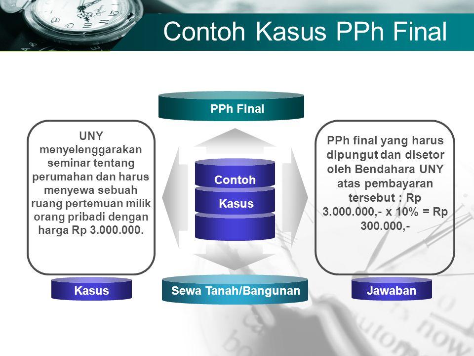 Company name Contoh Kasus PPh Final Sewa Tanah/Bangunan Contoh Kasus PPh Final UNY menyelenggarakan seminar tentang perumahan dan harus menyewa sebuah