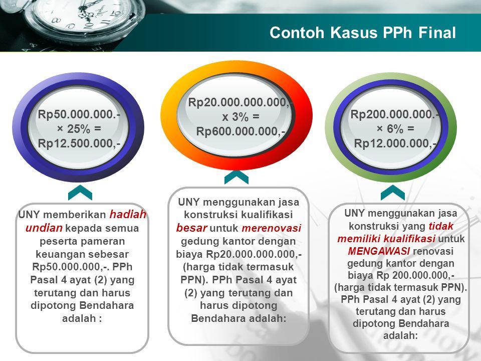 Company name Contoh Kasus PPh Final UNY memberikan hadiah undian kepada semua peserta pameran keuangan sebesar Rp50.000.000,-. PPh Pasal 4 ayat (2) ya