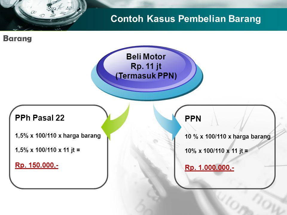 Company name Contoh Kasus Pembelian Barang PPh Pasal 22 1,5% x 100/110 x harga barang 1,5% x 100/110 x 11 jt = Rp. 150.000,- Beli Motor Rp. 11 jt (Ter