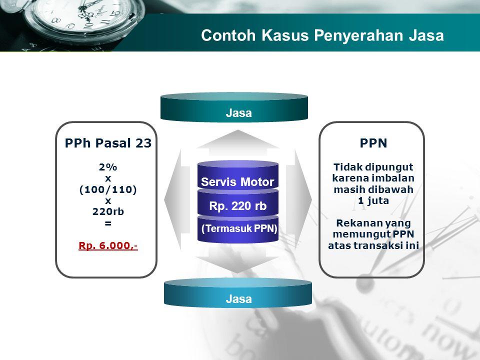 Company name Contoh Kasus Penyerahan Jasa Servis Motor Rp. 220 rb (Termasuk PPN) PPh Pasal 23 2% x (100/110) x 220rb = Rp. 6.000,- PPN Tidak dipungut