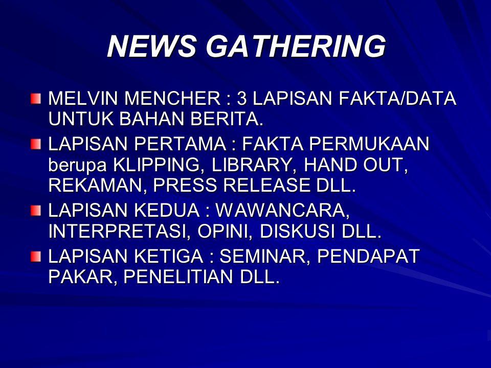 NEWS GATHERING MELVIN MENCHER : 3 LAPISAN FAKTA/DATA UNTUK BAHAN BERITA.