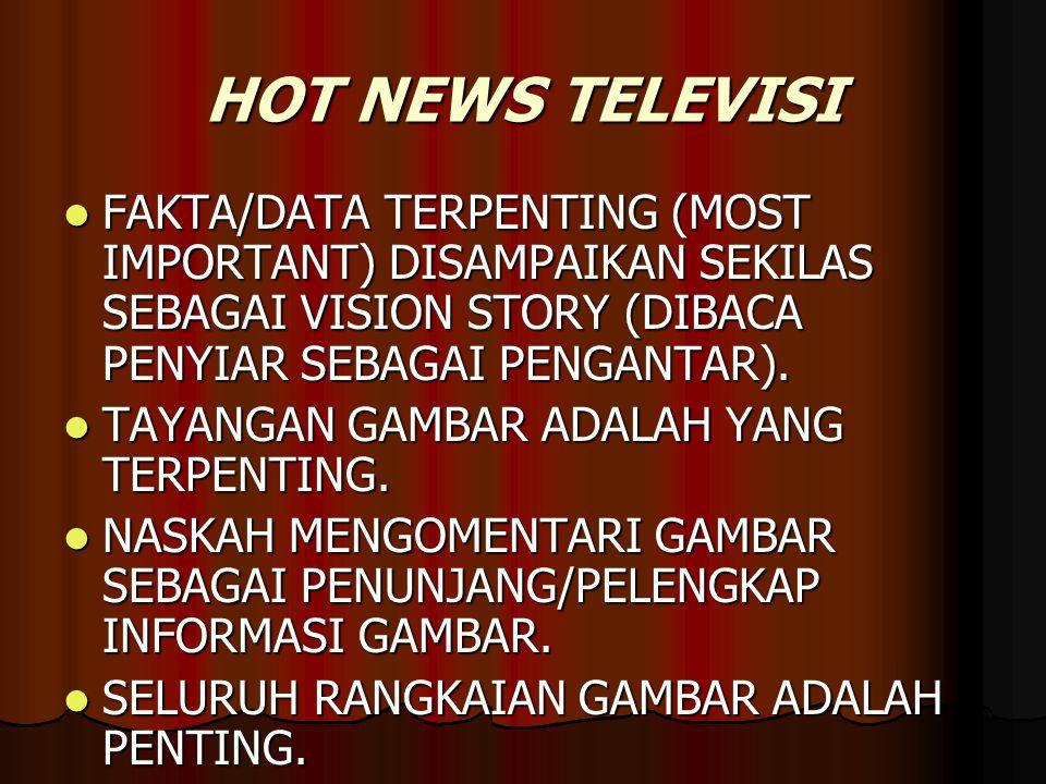HOT NEWS TELEVISI  FAKTA/DATA TERPENTING (MOST IMPORTANT) DISAMPAIKAN SEKILAS SEBAGAI VISION STORY (DIBACA PENYIAR SEBAGAI PENGANTAR).