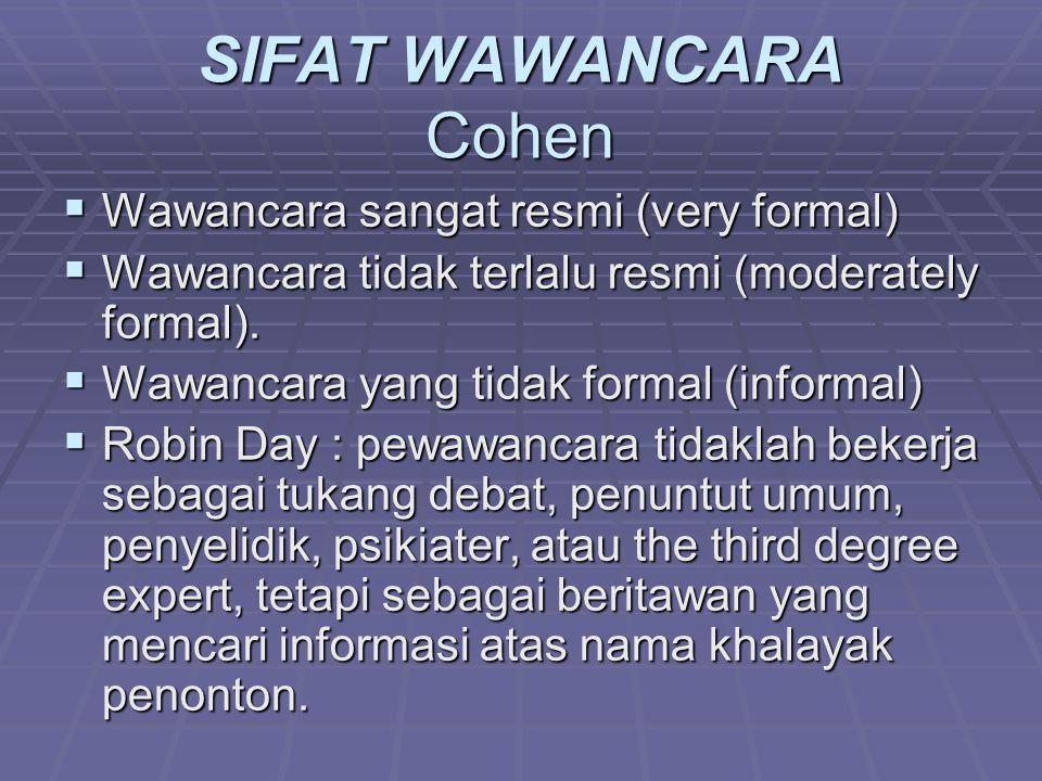 SIFAT WAWANCARA Cohen  Wawancara sangat resmi (very formal)  Wawancara tidak terlalu resmi (moderately formal).